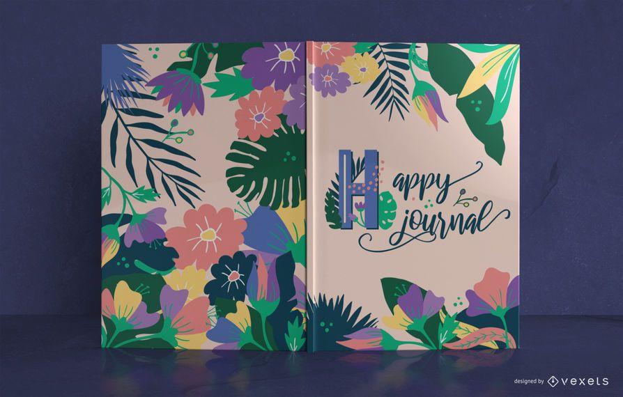 Diseño de portada de libro de diario tropical