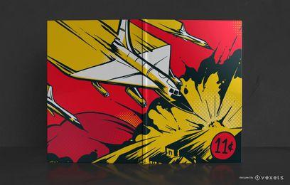 Diseño de portada de cómic de explosión de aviones