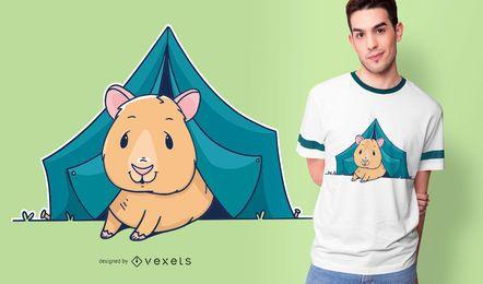 Diseño de camiseta de camping Guinea Pig