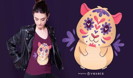 Diseño de camiseta Sugar Skull Guinea Pig