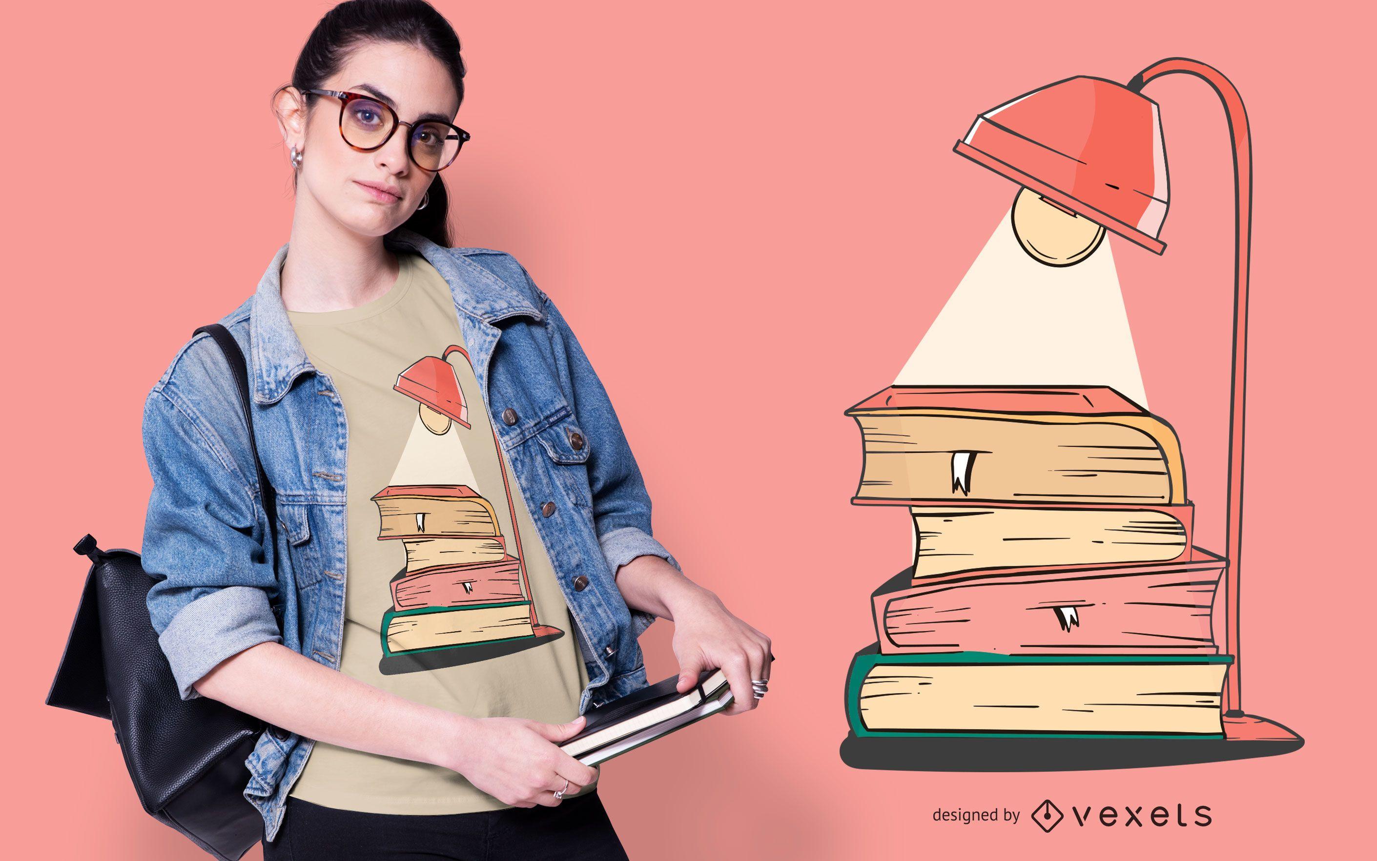 Diseño de camiseta Lamp Books