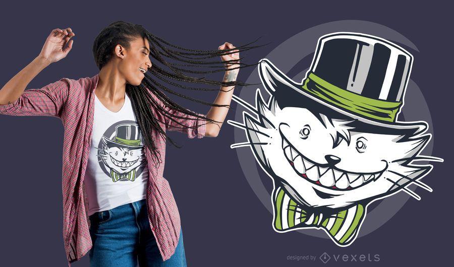 Crazy Creepy Cat T-shirt Design