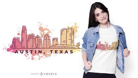 Austin Texas Watercolor Skyline T-shirt Design