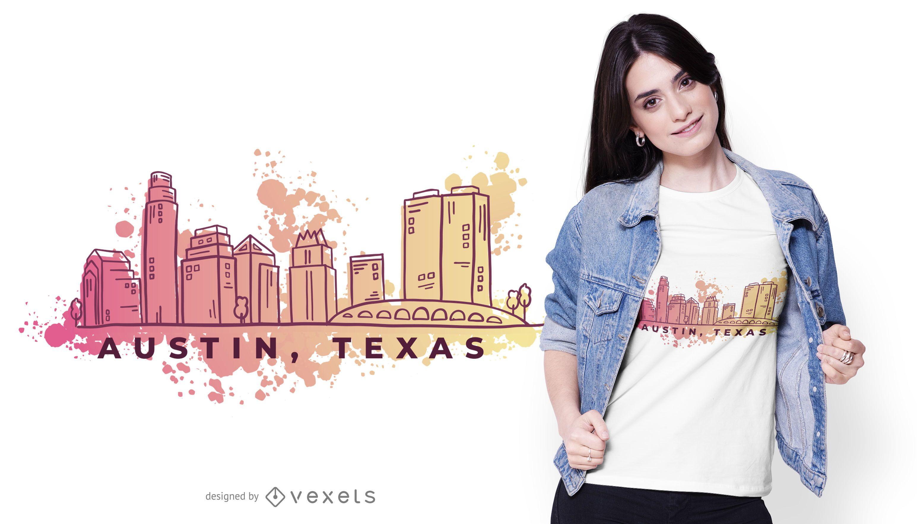 Austin Texas Watercolor Skyline T-shirt Design