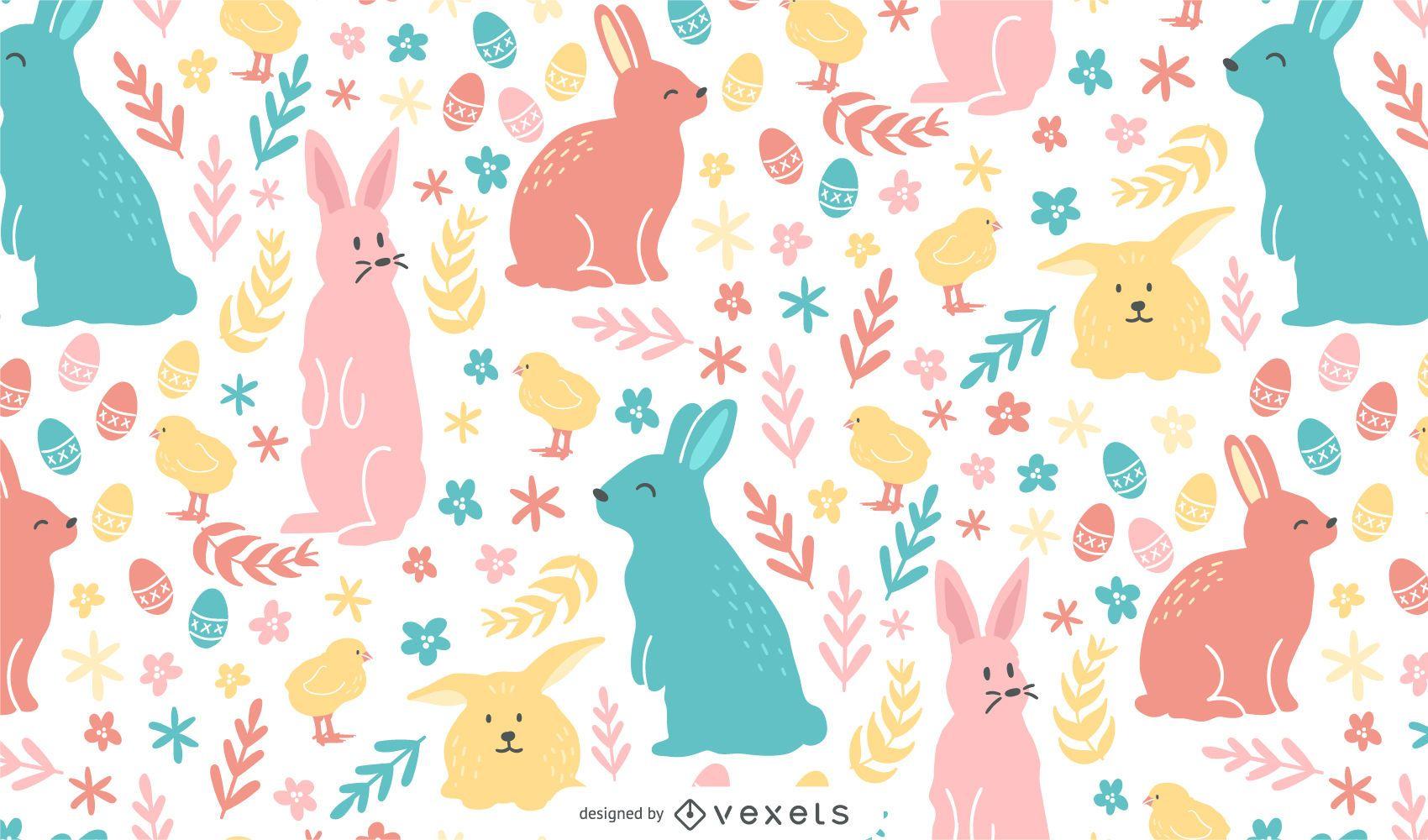 Desenho de padrão colorido de páscoa