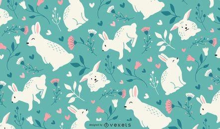 Design de padrão de coelhos fofos de Páscoa