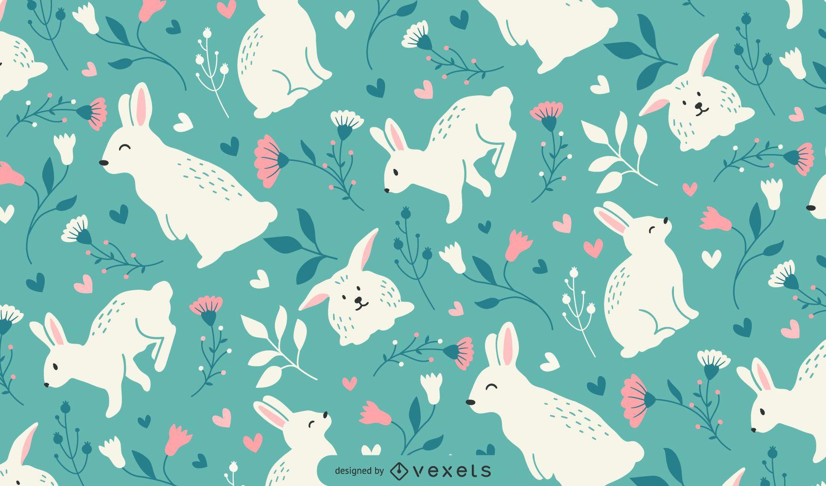 Desenho de padrão de coelhos fofos da Páscoa
