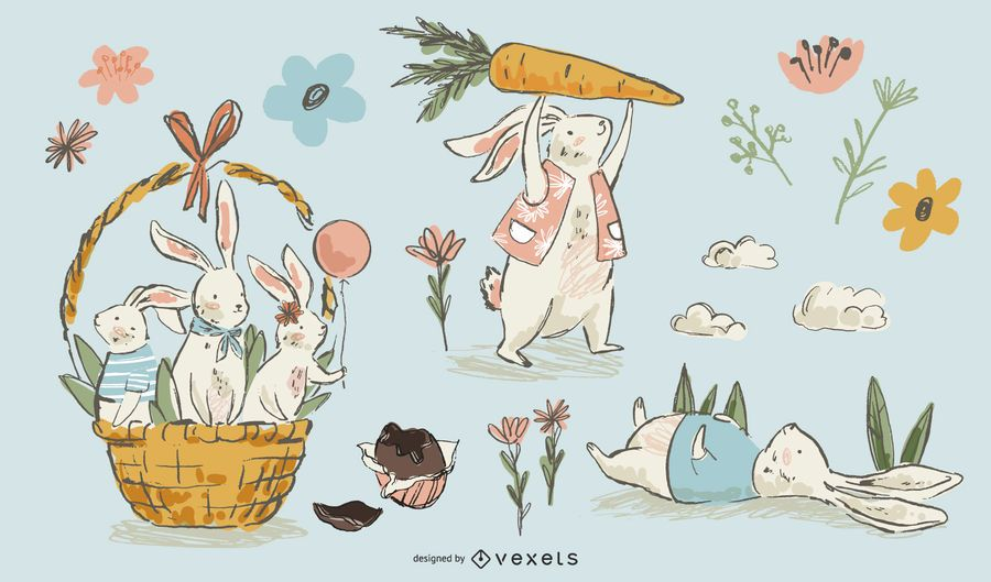 Easter rabbits hand drawn set