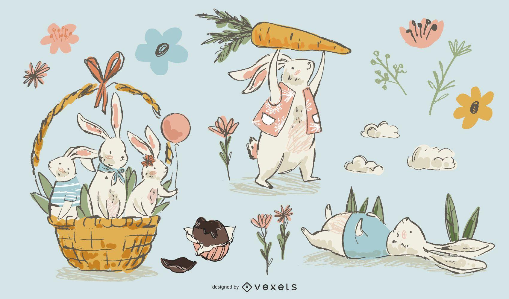 Conjunto dibujado a mano de conejos de pascua