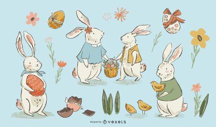 Conjunto de coelhinhos da Páscoa de mão desenhada