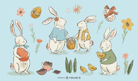 Hand drawn easter bunnies set