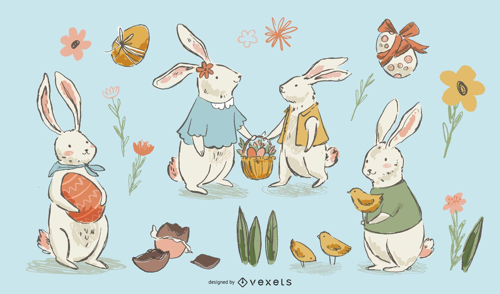 Hand drawn easter bunnies set