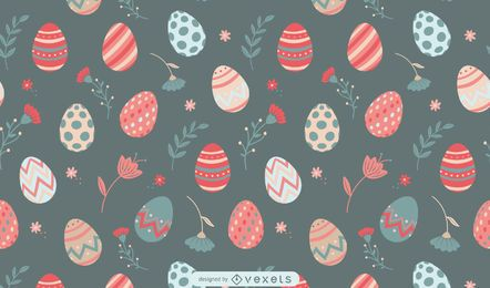 Easter eggs and flowers pattern design