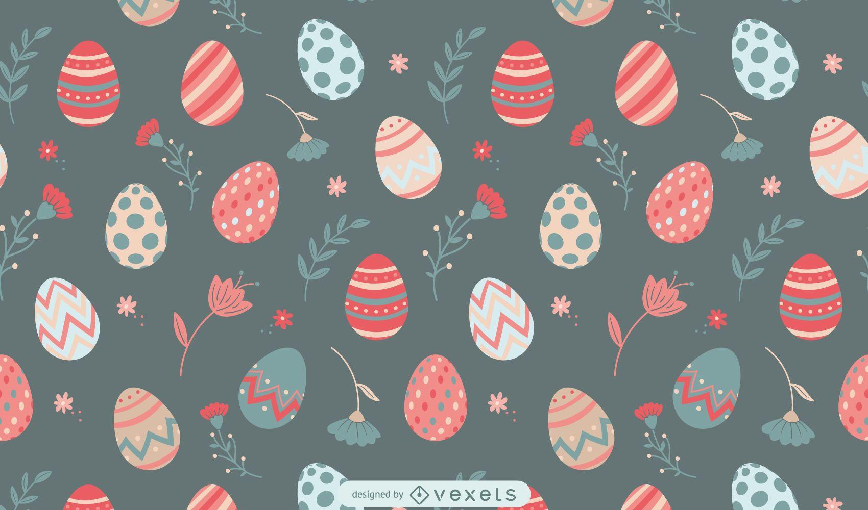 Diseño de patrón de flores y huevos de Pascua