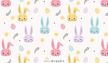 Desenho de padrão de páscoa de coelhos coloridos