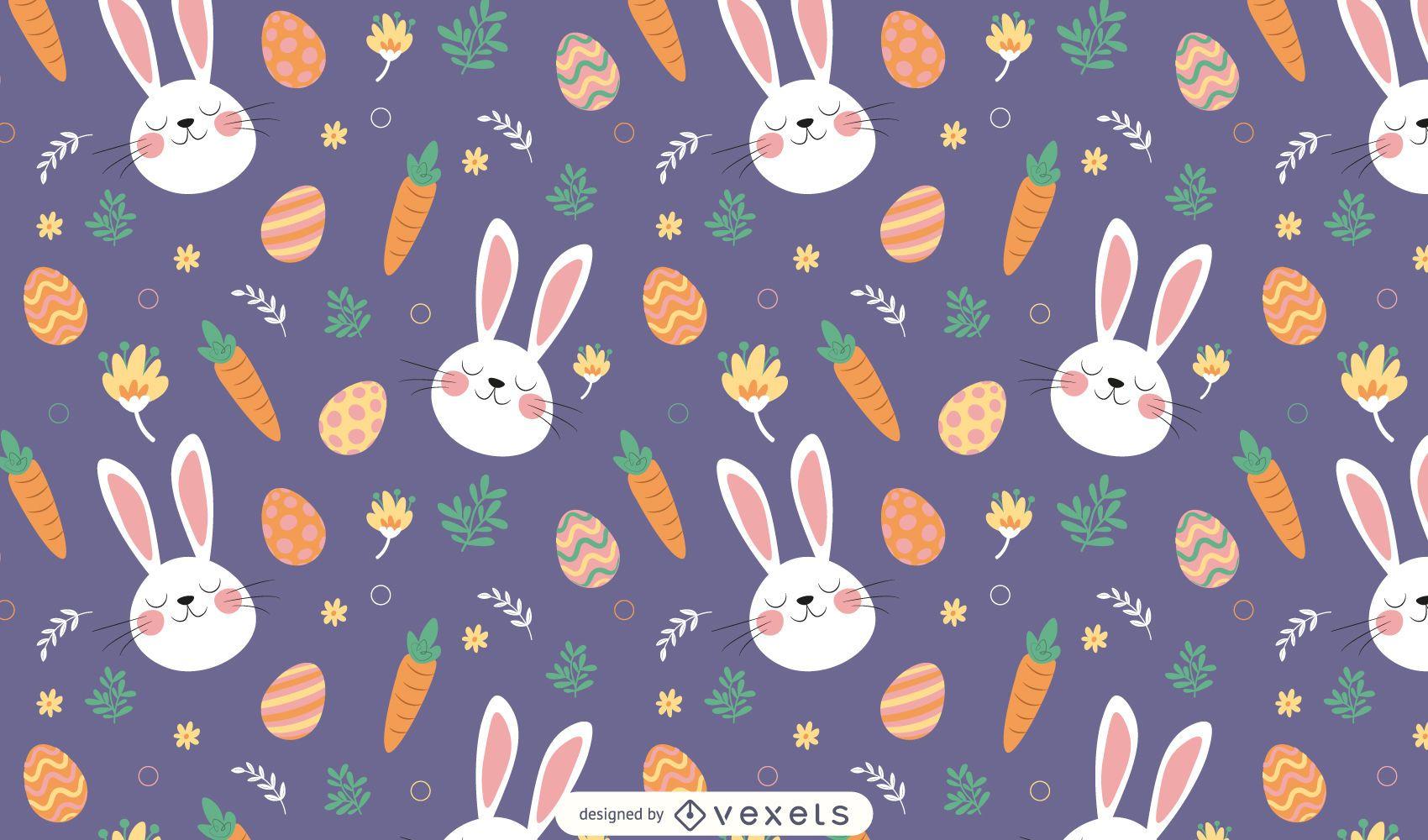 Diseño de patrón de conejitos de pascua