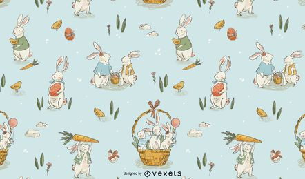 Easter hand drawn pattern design