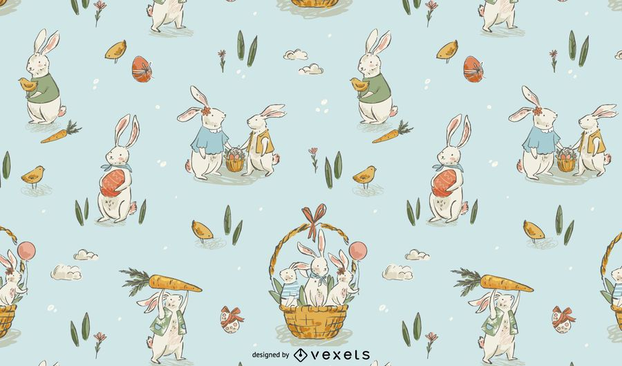 Easter hand drawn pattern design