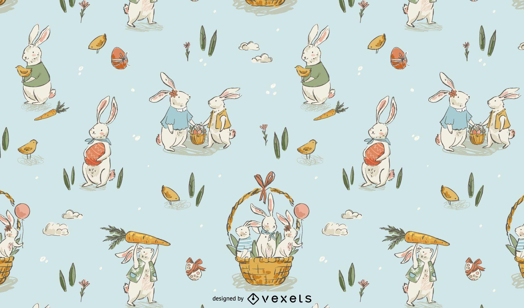 Diseño de patrón dibujado a mano de Pascua
