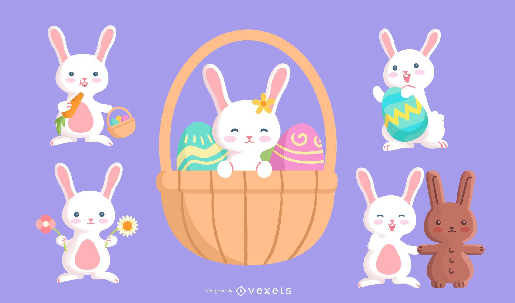 Conjunto de caracteres de coelhinha da Páscoa