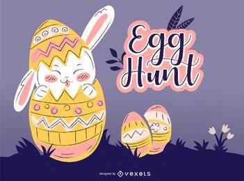 Ilustração de caça aos ovos de Páscoa
