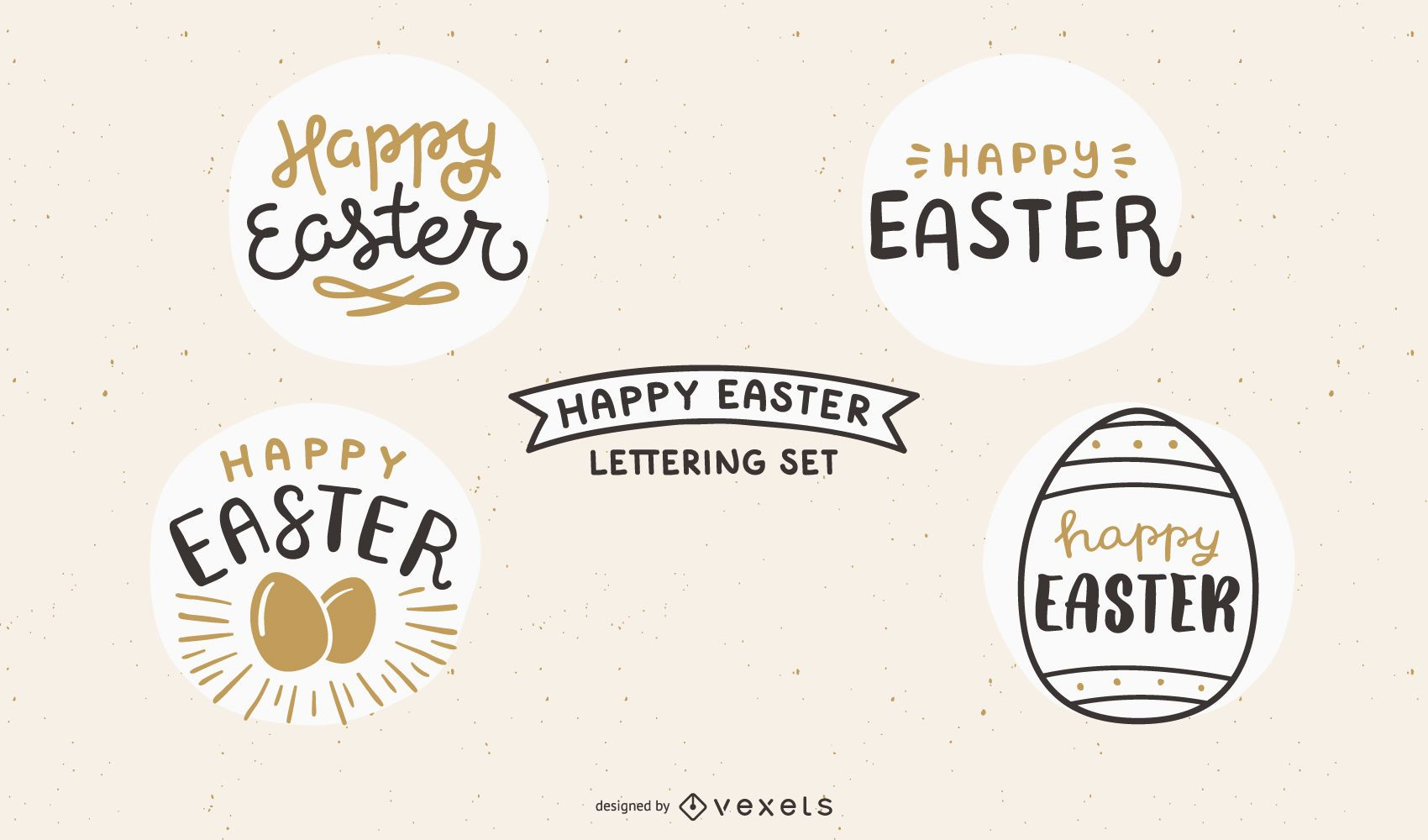Happy easter lettering set