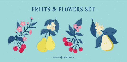 Conjunto de ilustración de frutas y flores