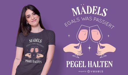 Design de camisetas alemãs de nível feminino