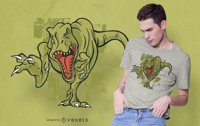 Diseño de camiseta t-rex enojado