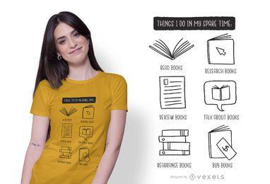 Diseño de camiseta de amante de los libros.