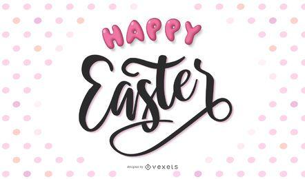 Diseño de letras de escritura a mano feliz Pascua