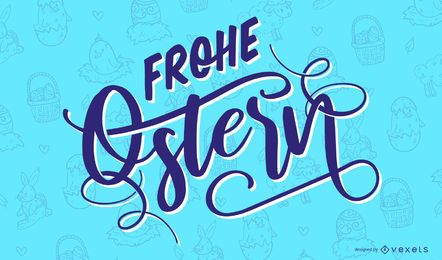 Happy Easter German Lettering Design