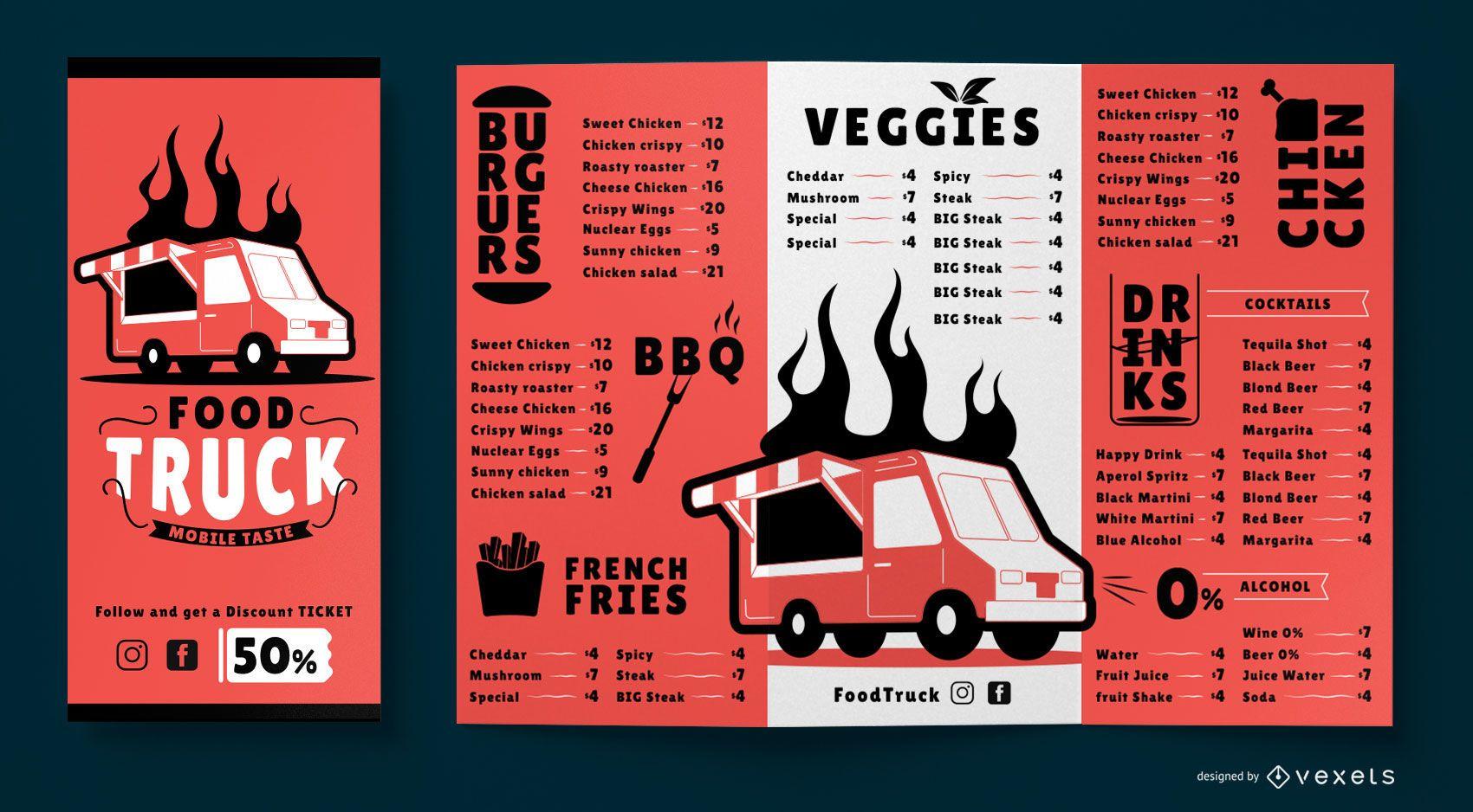Modelo de folheto de menu de food truck