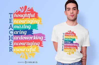 Design de camiseta com citações do professor arco-íris