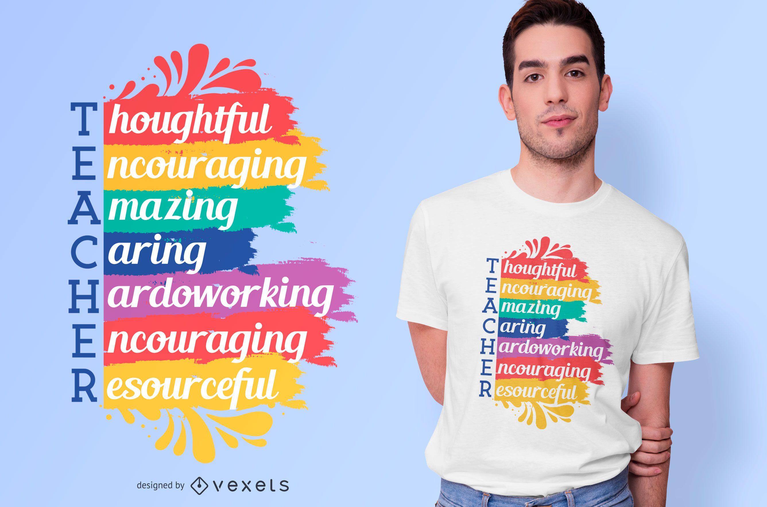 Diseño de camiseta Teacher Rainbow Quote