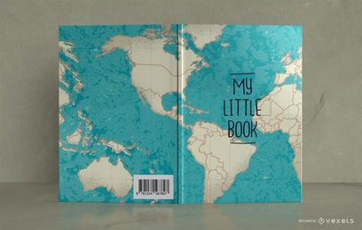 Diseño de portada de libro de diario de viaje de mapa