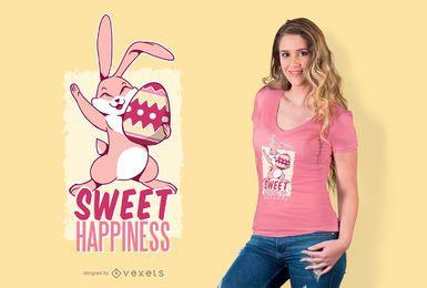 Diseño de camiseta de cita de conejito de Pascua