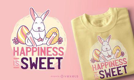 Diseño lindo de la camiseta de la cita del conejito de Pascua