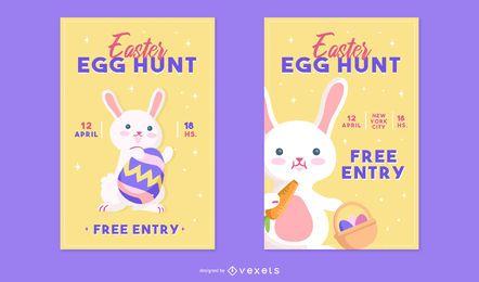 Conjunto de carteles de caza de huevos de Pascua