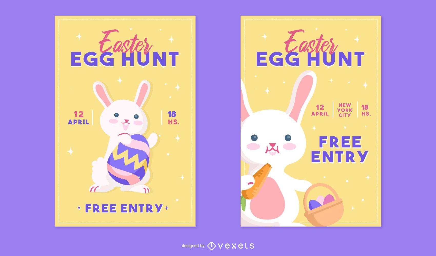 Easter egg hunt poster set