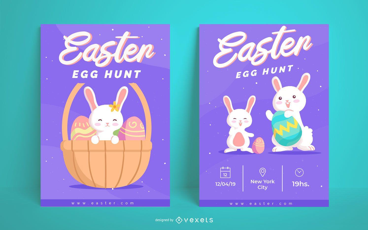 Cute easter egg hunt poster set
