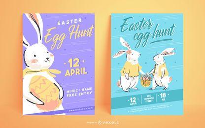 Plantillas de carteles de caza de huevos de Pascua