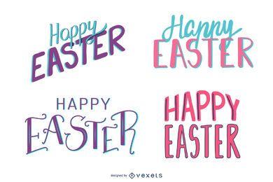 Feliz Páscoa conjunto de letras coloridas