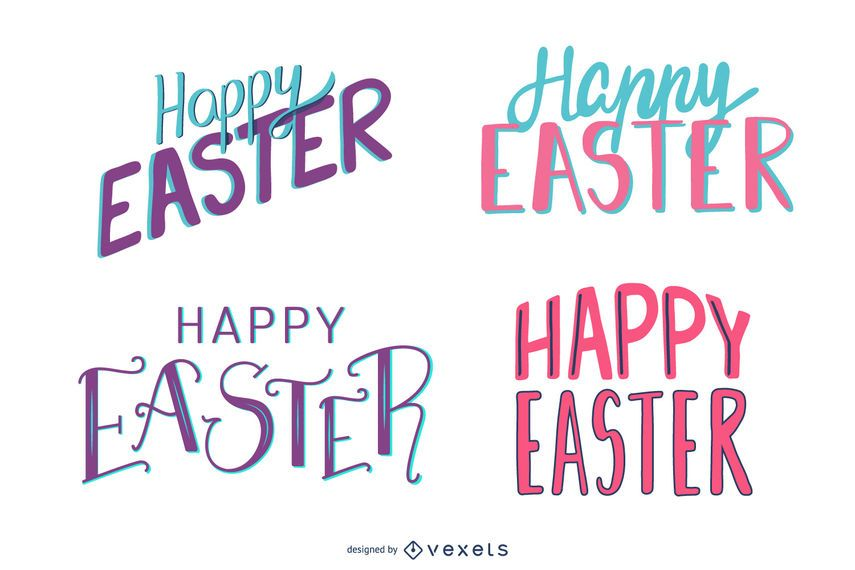 Happy easter colorful lettering set