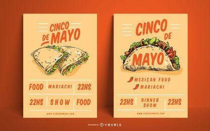 Conjunto de carteles de comida mexicana del Cinco de Mayo