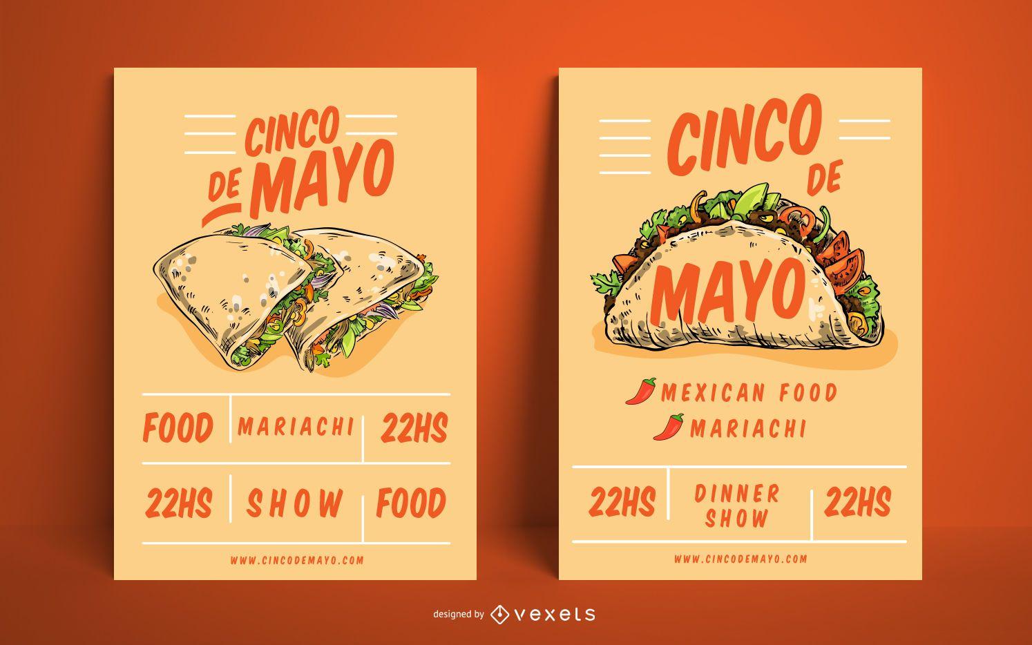 Cinco de Mayo Mexican Food Poster Set