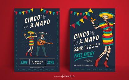 Conjunto de cartaz de festa de Cinco de Mayo