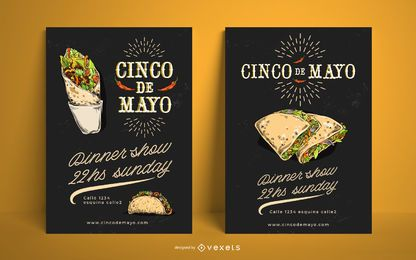 Cinco de mayo food poster template