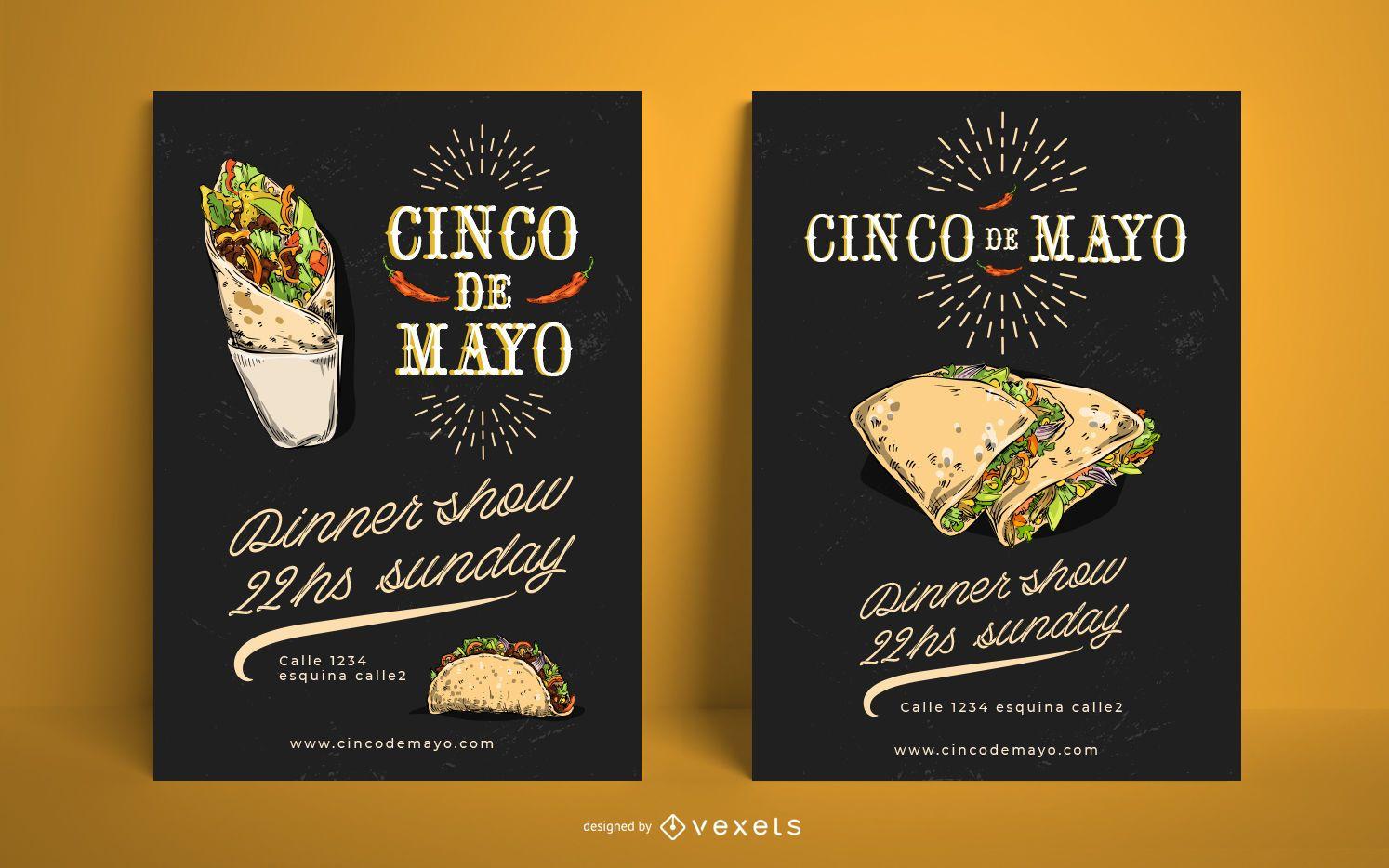 Cinco de mayo food poster template