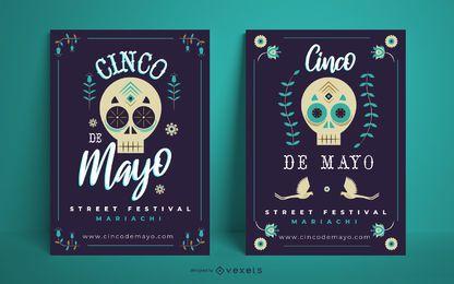 Cinco de Mayo Schädel Poster Vorlage